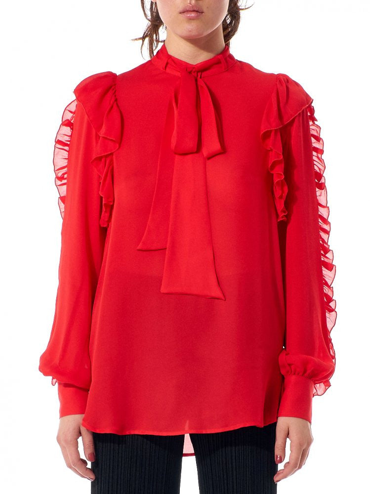 Ruffled Sleeve 'Star' Blouse (CSW1631505 RED FLAME) - H. Lorenzo