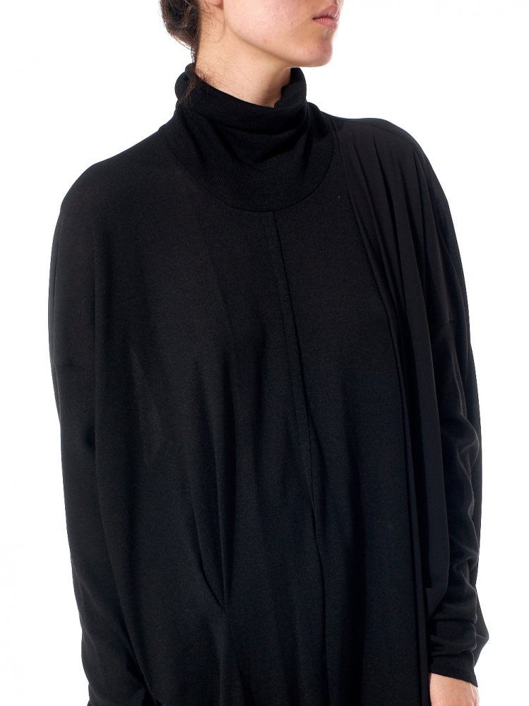Asymmetrical Sheer Turtle Neck Top (GKF-KN68 BLACK) - H. Lorenzo