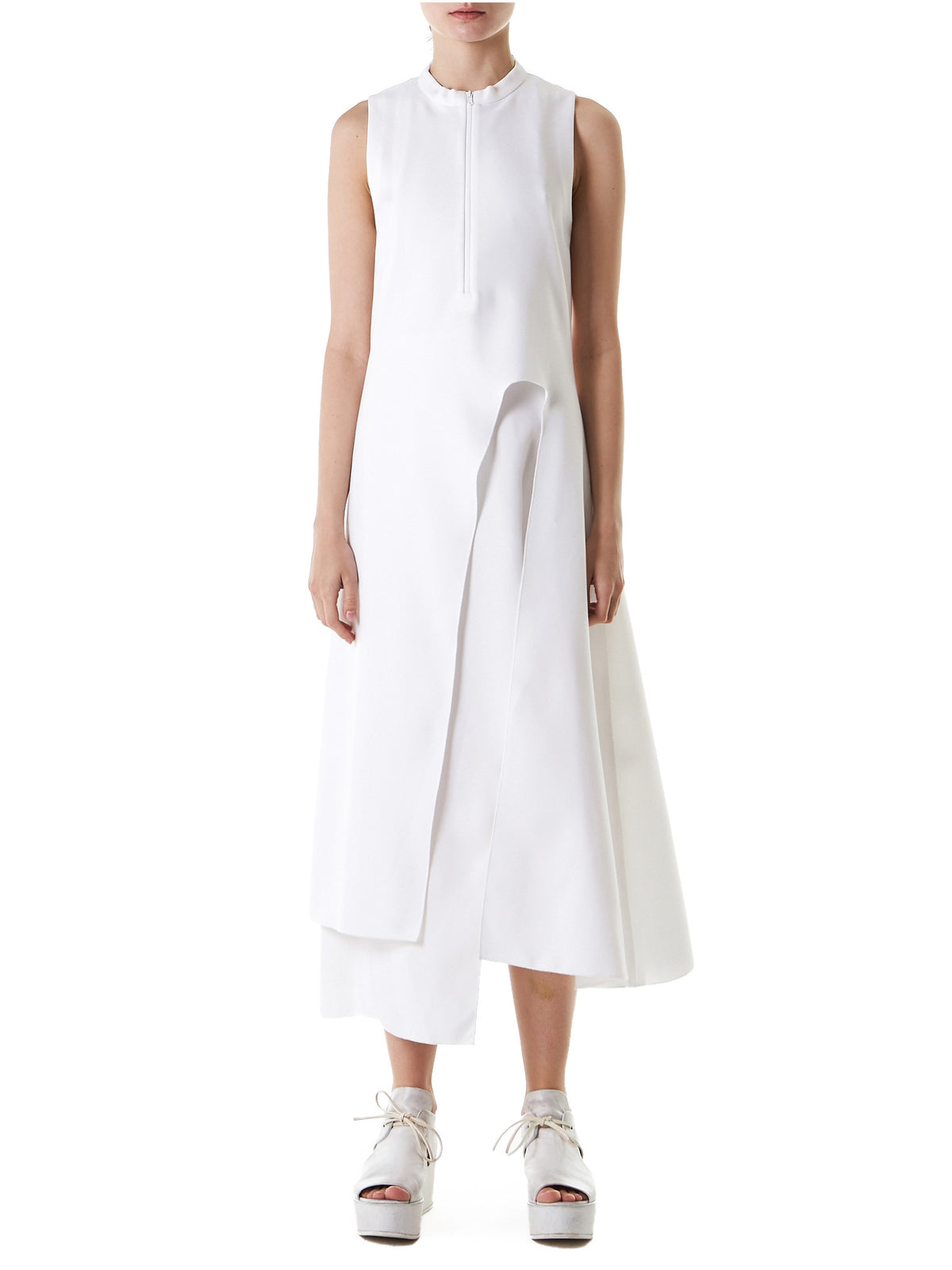Structured Sleeveless Dress (11-1-WHITE) - H. Lorenzo