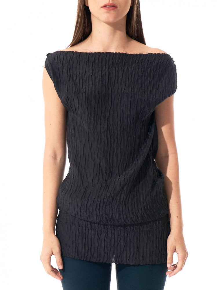Pleated Top (D132 SP1 BLACK) - H. Lorenzo
