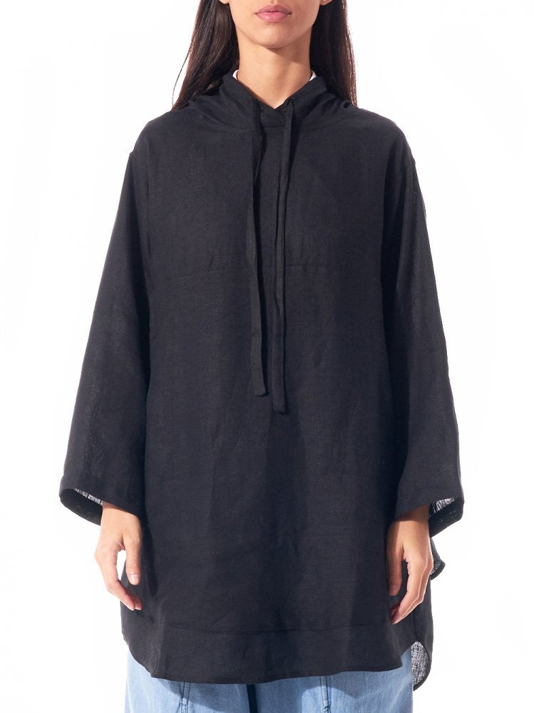 Oversized Linen Hooded Poncho (HOODED EVERYTHING BLACK) - H. Lorenzo