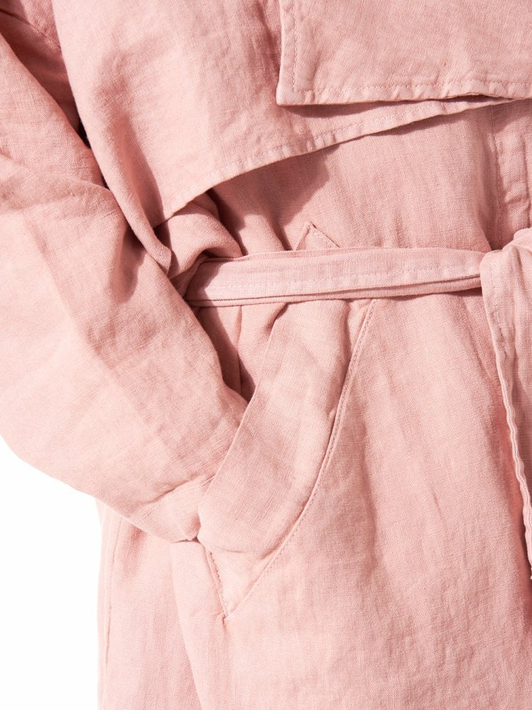 Linen Trench (MINIMAL TRENCH DUSTY ROSE) - H. Lorenzo