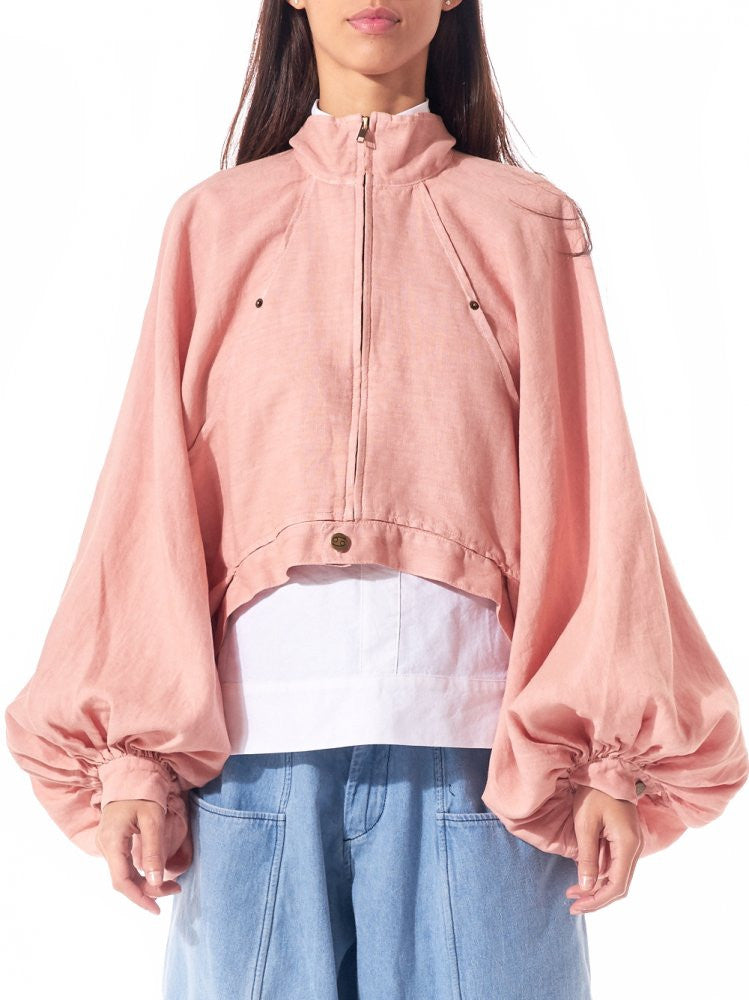 Cropped Linen Bomber (POET'S JACKET DUSTY ROSE) - H. Lorenzo