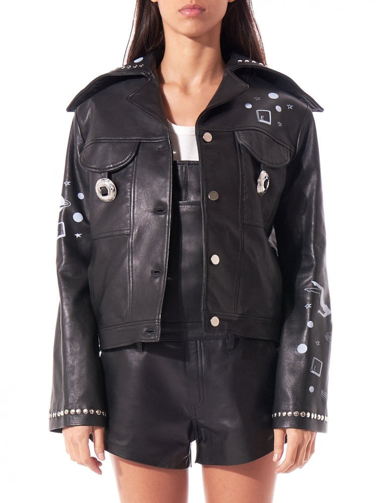 Painted Leather Jacket (IN SPACE BLACK) - H. Lorenzo