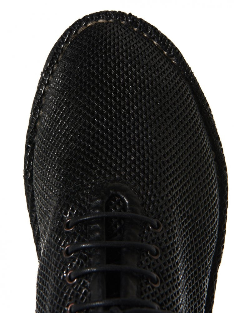 Perforated Leather Lace Up (MMG039 BLACK) - H. Lorenzo