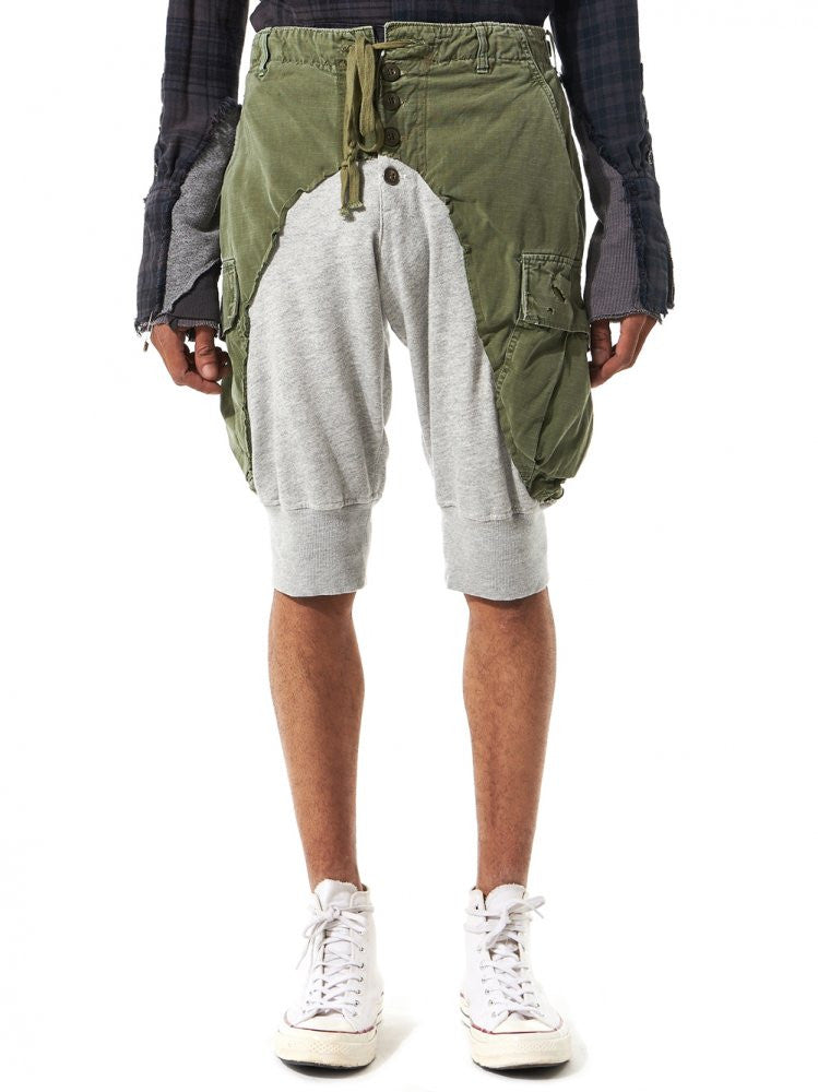 "Fleece ""Jungle"" Shorts (GLSS17-M253 ARMY-GREY) - H. Lorenzo"