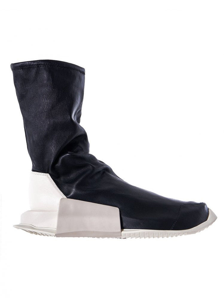 Laceless Mid-Calf Leather Trainers (BY2932 BLACK/MILK/DINGE)