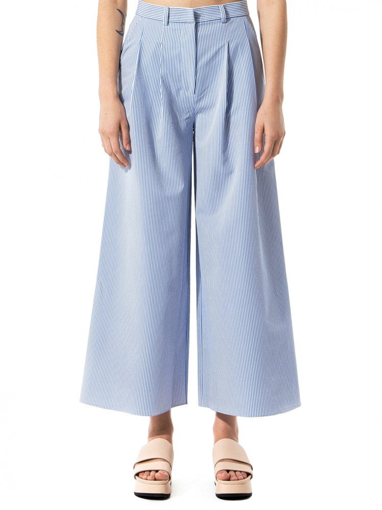 Pinstriped Culottes (SS17-033 WHITE-BLUE) - H. Lorenzo