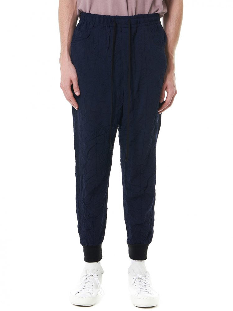 Ribbed Panelled Track Pants (SS17-MPT035-NAVY) - H. Lorenzo