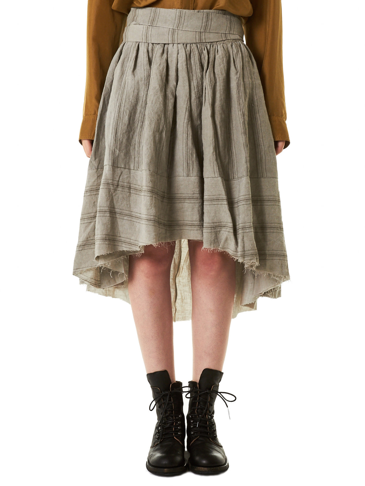 Apron Wrap Skirt (1170531-TRAVERTINE) - H. Lorenzo