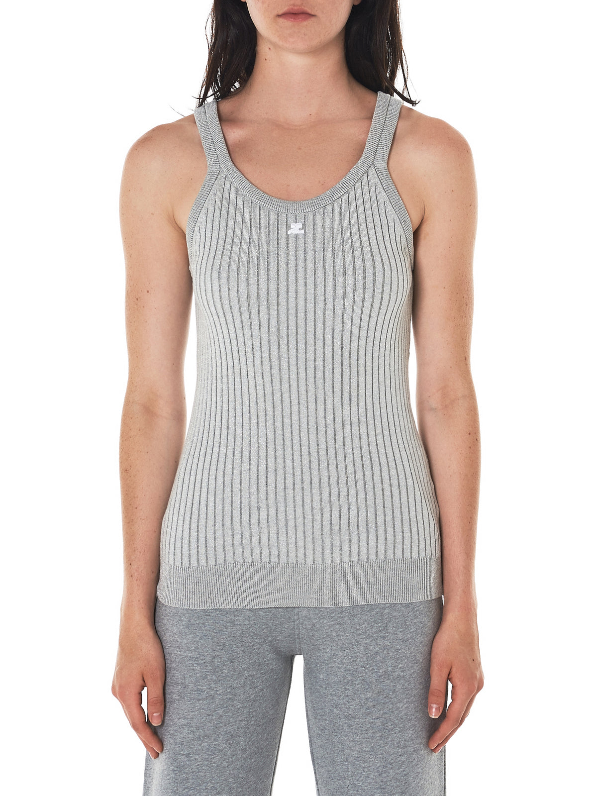Signature Ribbed Tank (118ML10M006L-ARG2-SILVER)
