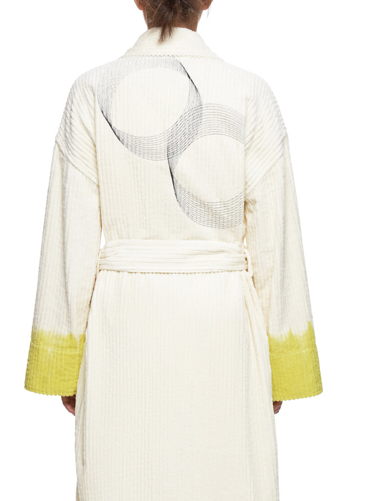 Embroidered Robe (12-BUM-D-WHITE-YELLOW)