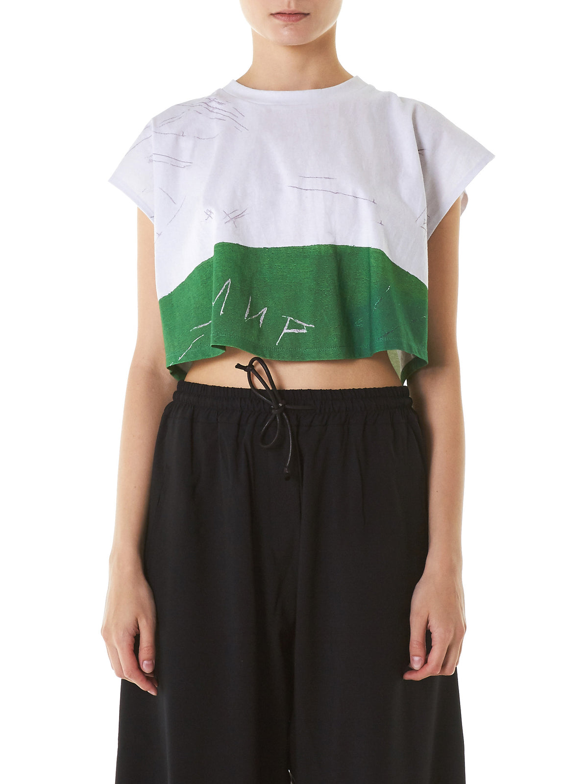 'Etched' Graphic Cropped Top(12134-WHITE-GREEN) - H. Lorenzo