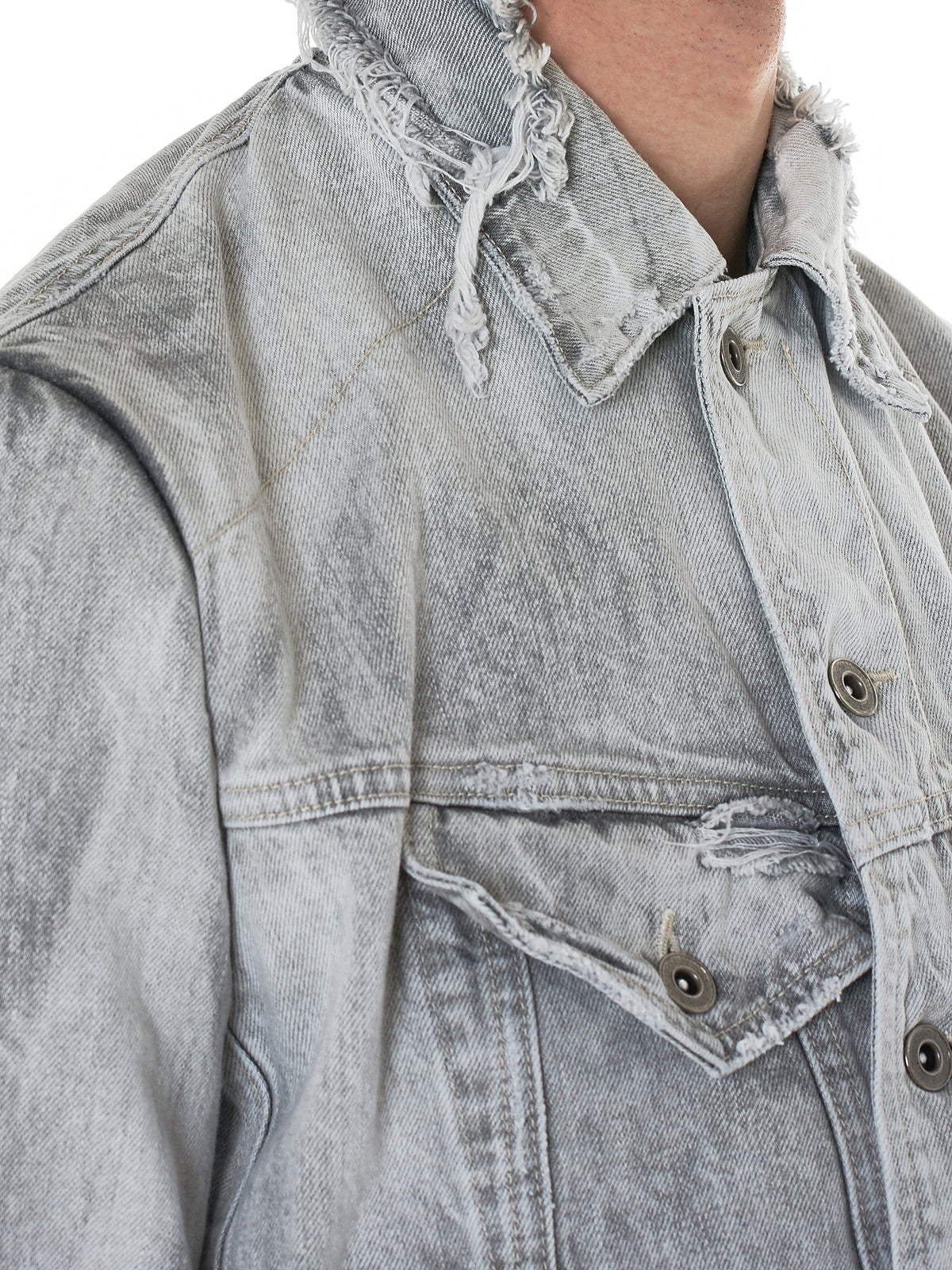 Distressed Denim Jacket (007BLM30-BLUE)