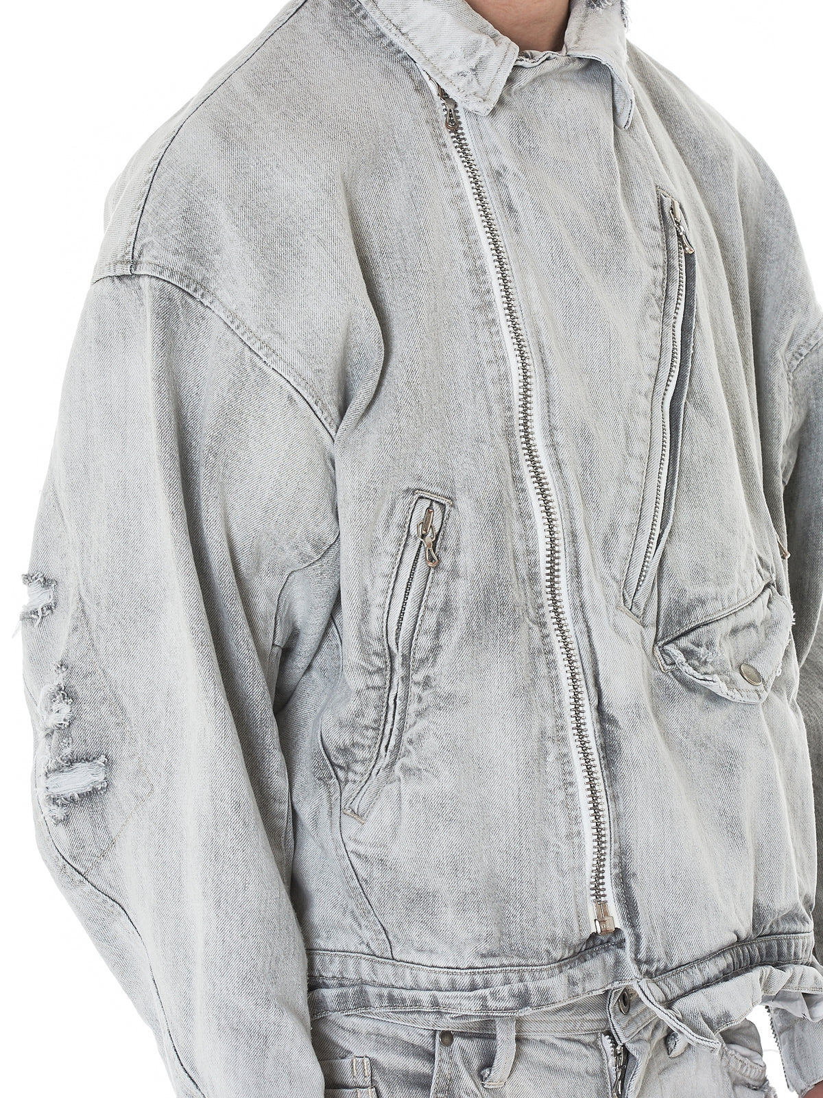 Distressed Denim Biker Jacket (007BLM31-BLUE)