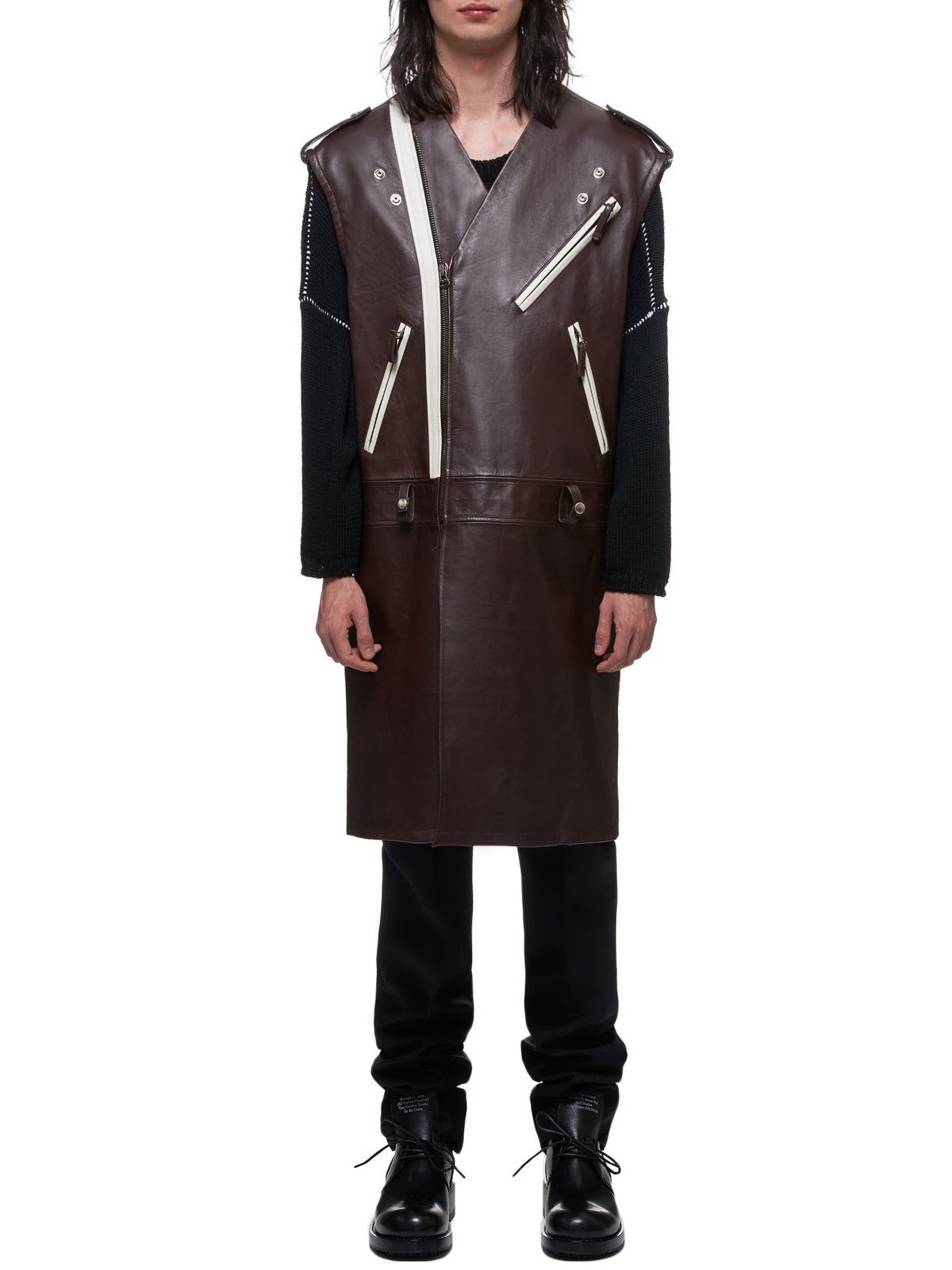 Raf Simons Leather Vest - Hlorenzo Front