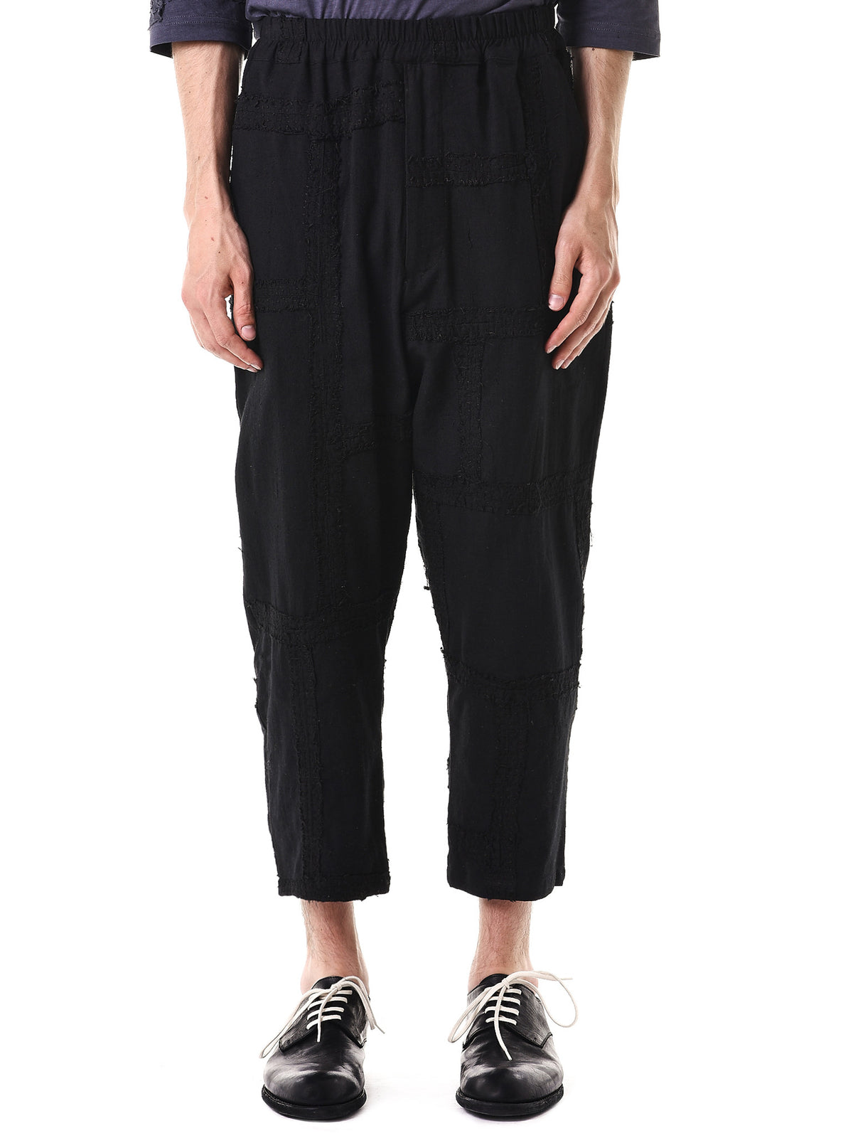 Stitched 'Cotton Khadi' Pants (130262M-BLACK) - H. Lorenzo