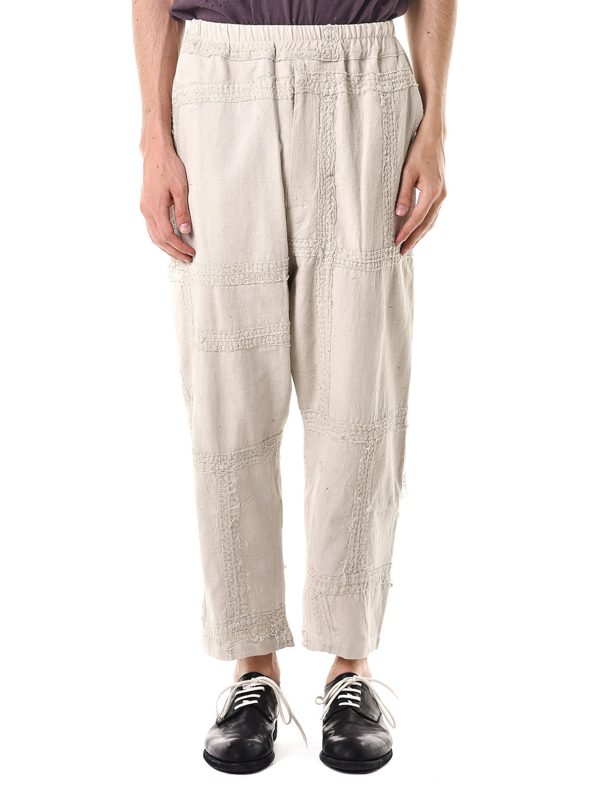 Stitched 'Cotton Khadi' Pants (130262M-NATURAL) - H. Lorenzo