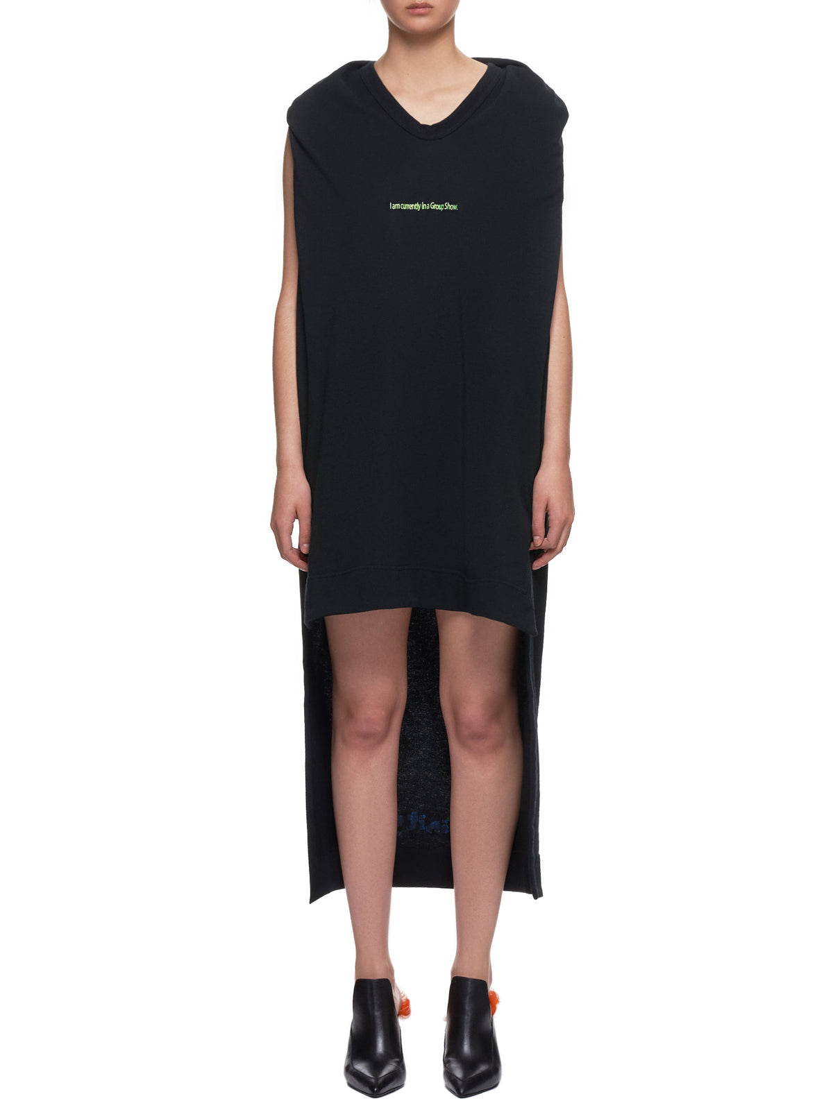 'I am currently in a Group Show' T-Shirt Dress (133-GRO-BLACK)