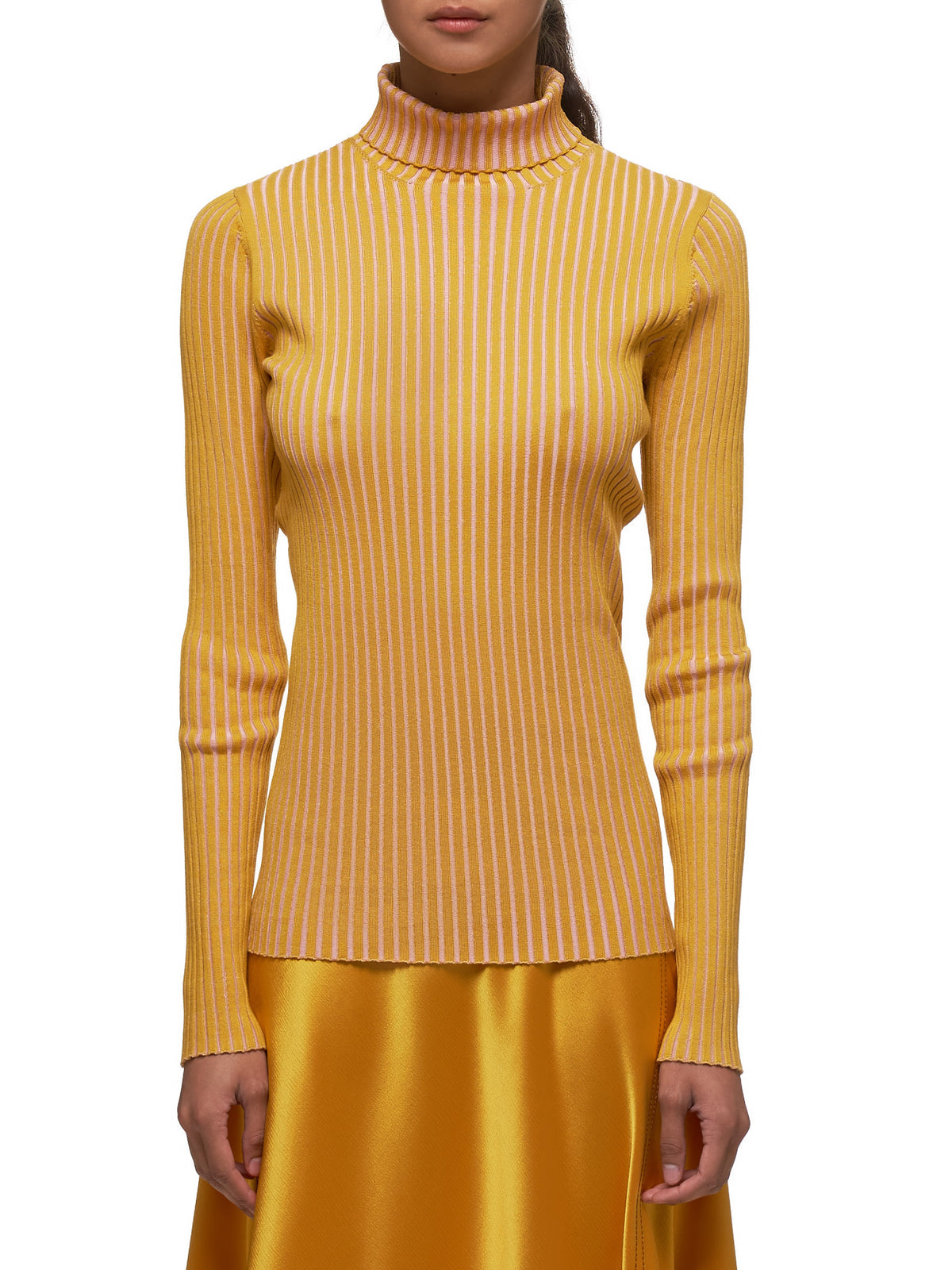Victoire Silk Knit Turtleneck (15CI8077-YELLOW-PINK)