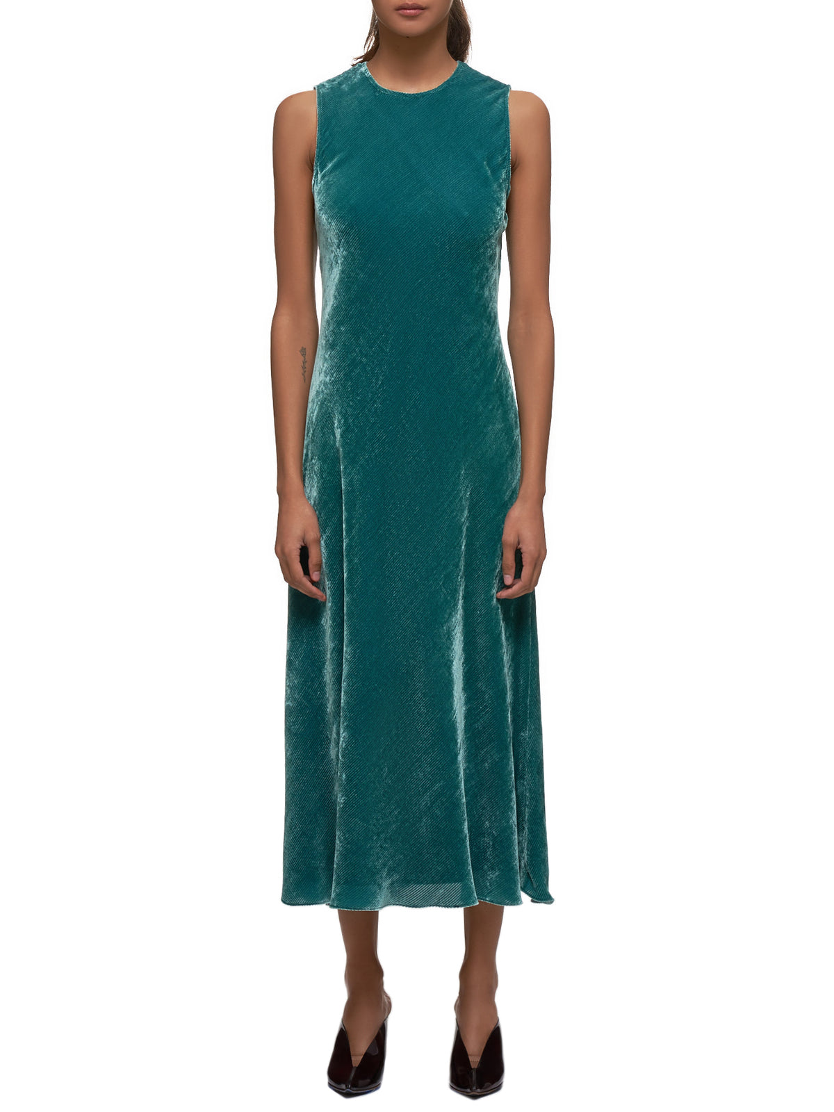 Viv Velvet Cord Sleeveless Dress (15FC5232-GREEN)