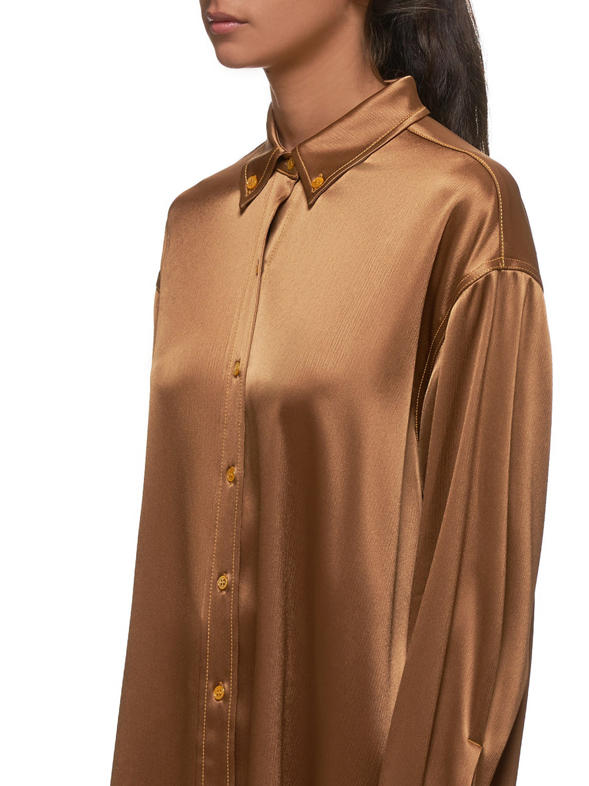 Kiki Crinkled Oversized Satin Shirt (15KS3097-GOLD)