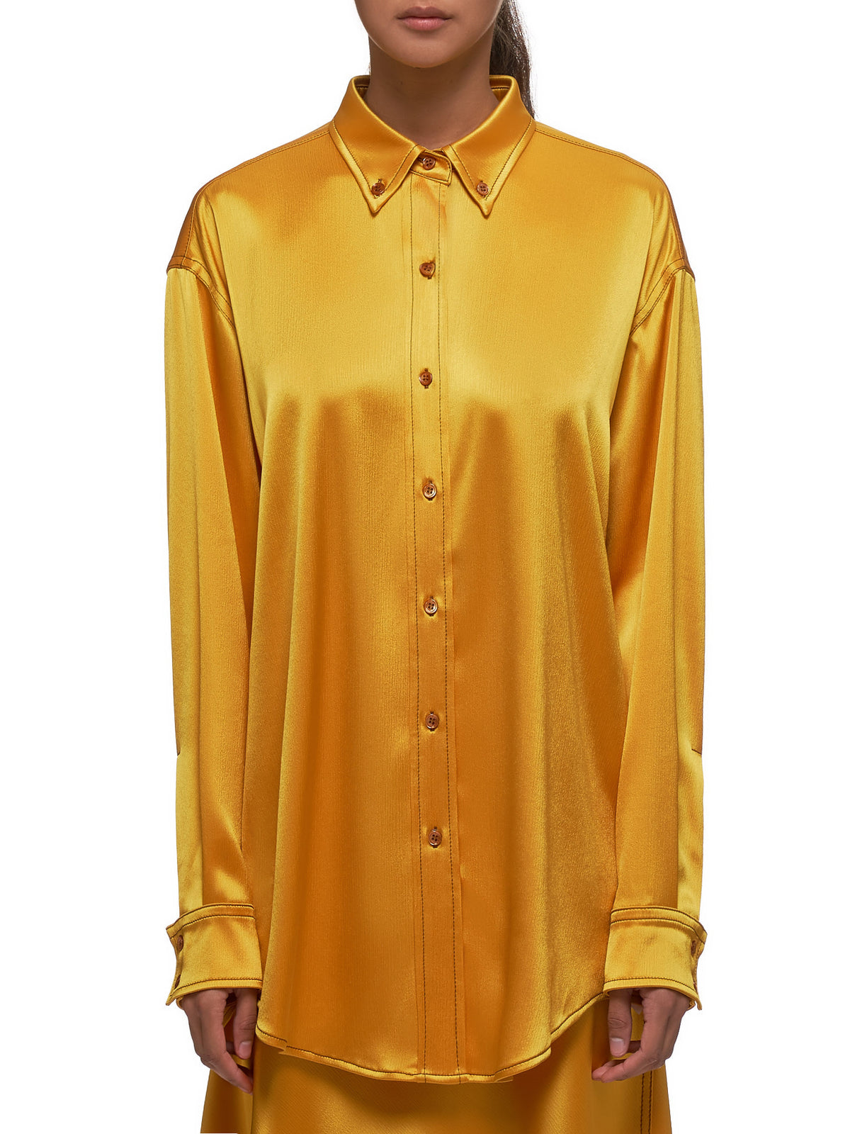 Kiki Crinkled Oversized Satin Shirt (15KS3097-YELLOW)