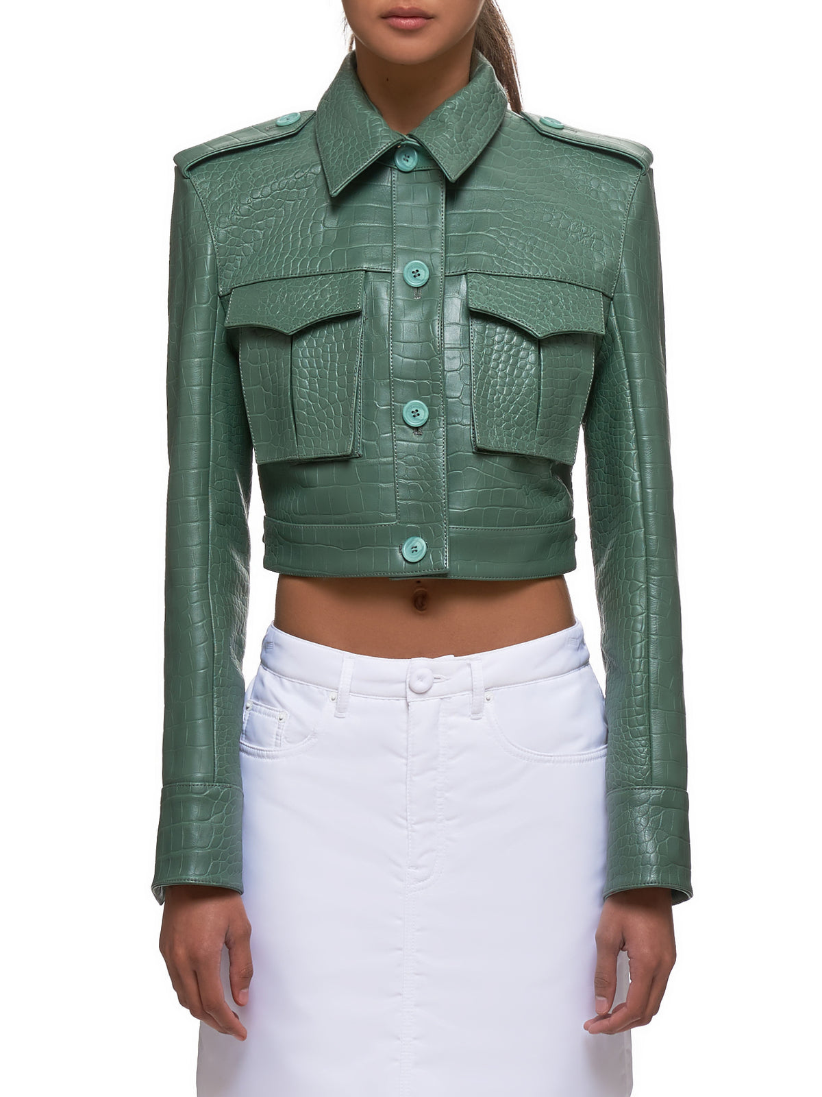 Maya Embossed Croc Leather Jacket (15LO4031-GREEN)