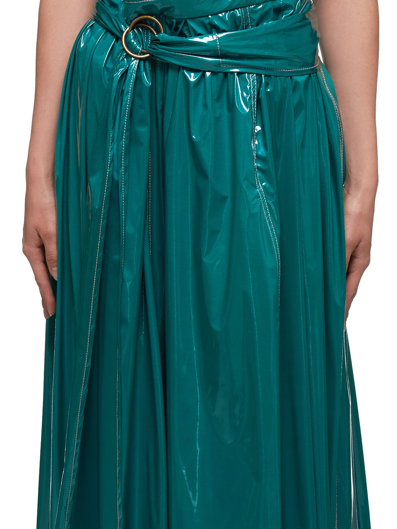 Gloss Coated Amalia Jersey Skirt (16GS7045-EMERALD)