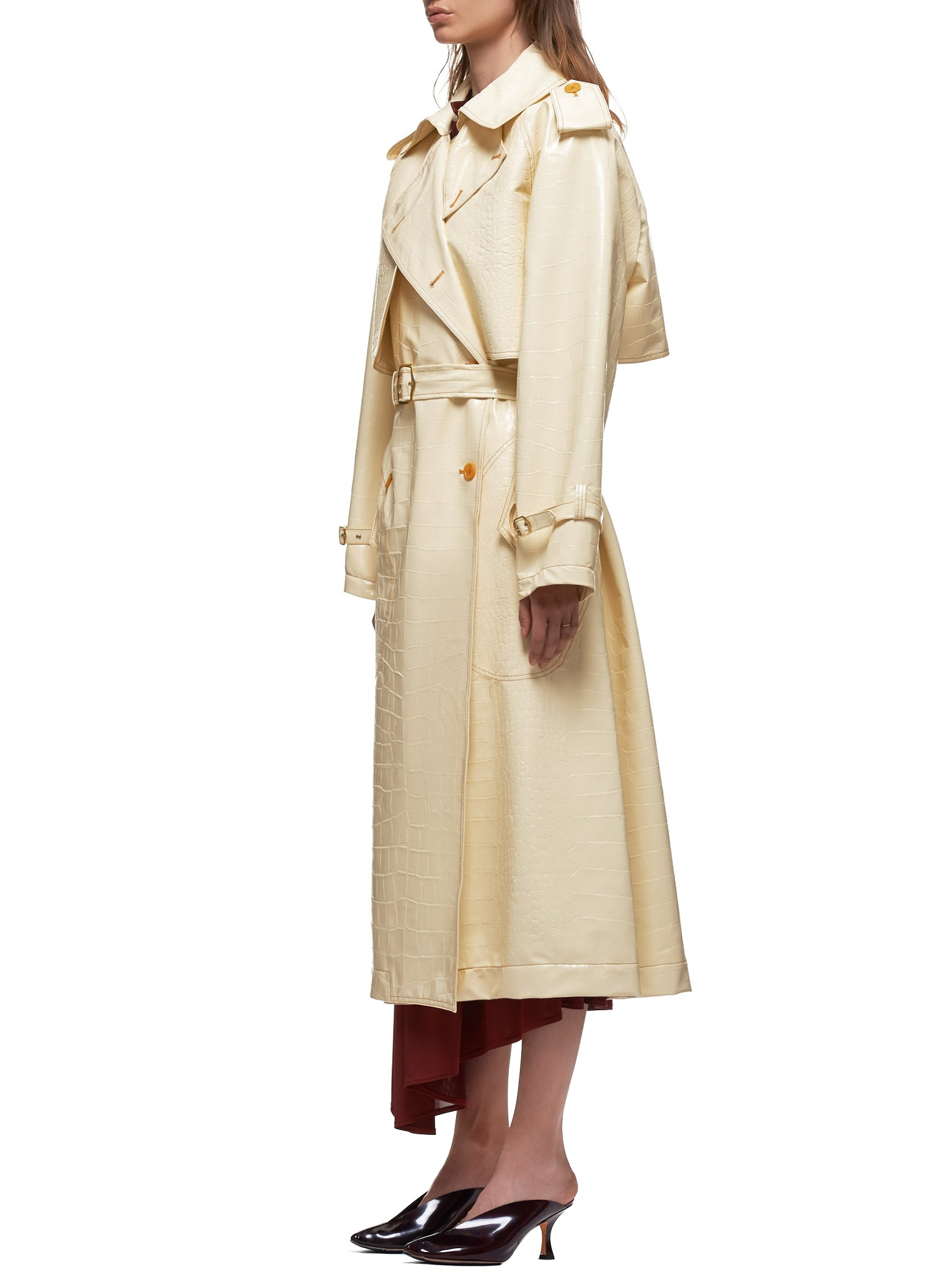 Eva Embossed Alligator Trench Coat (16LZ0057-VANILLA)