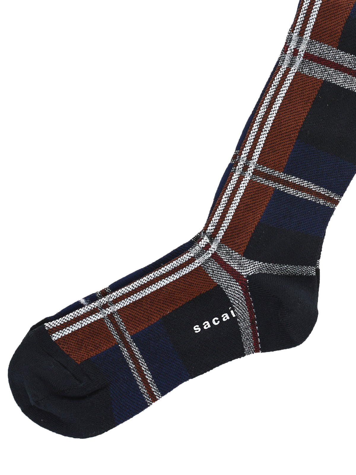 Knit Tartan Socks (17-03474-NAVY-OFF-WHITE)