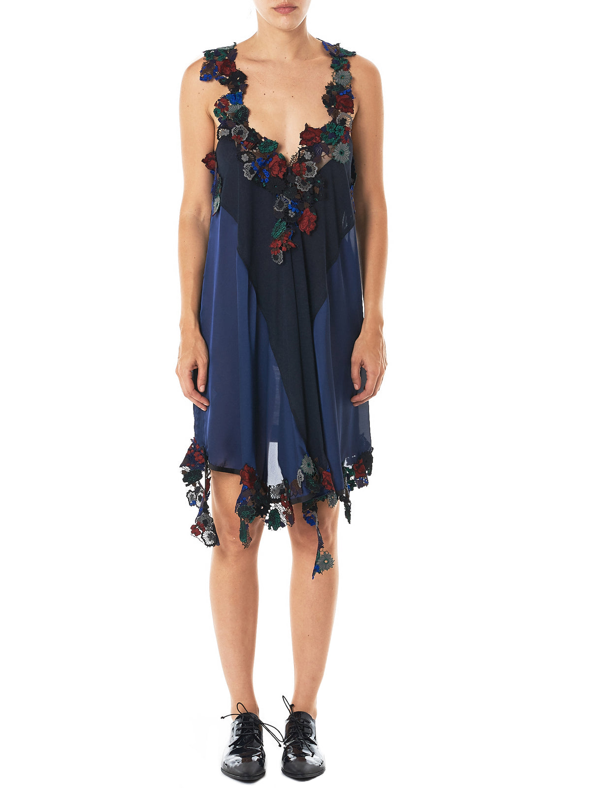 Floral Appliqué Dress (17-03494-D-NAVY-MULTI)