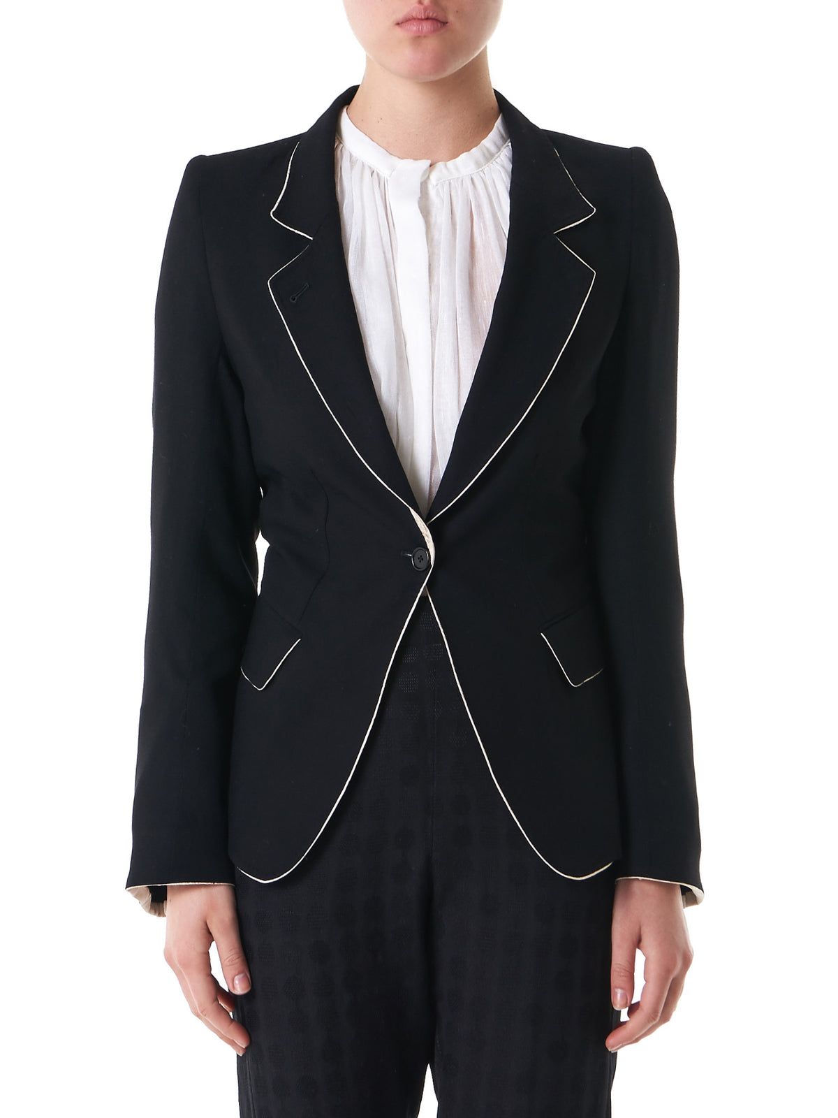 Piped-Lapel Blazer (1701-1010-170-098) - H. Lorenzo