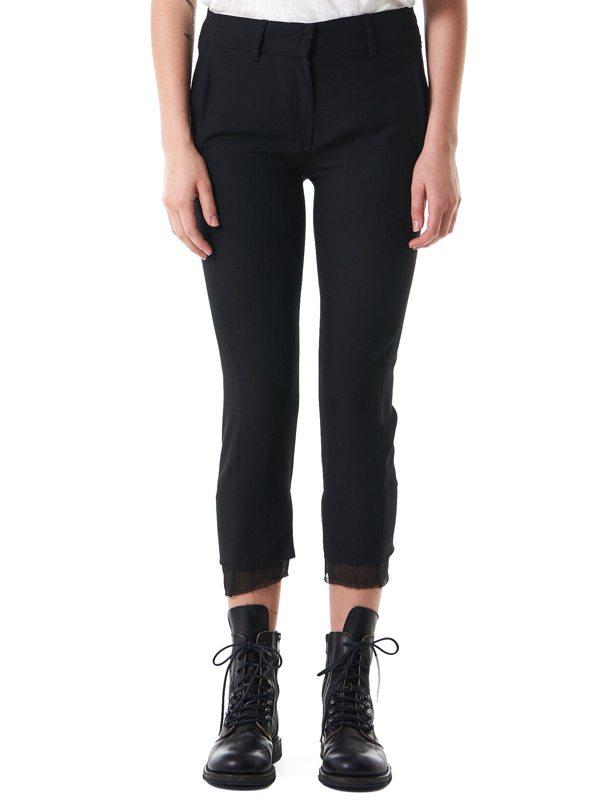 Tiered Hem Cropped Trouser (1701-1406-170-099) - H. Lorenzo