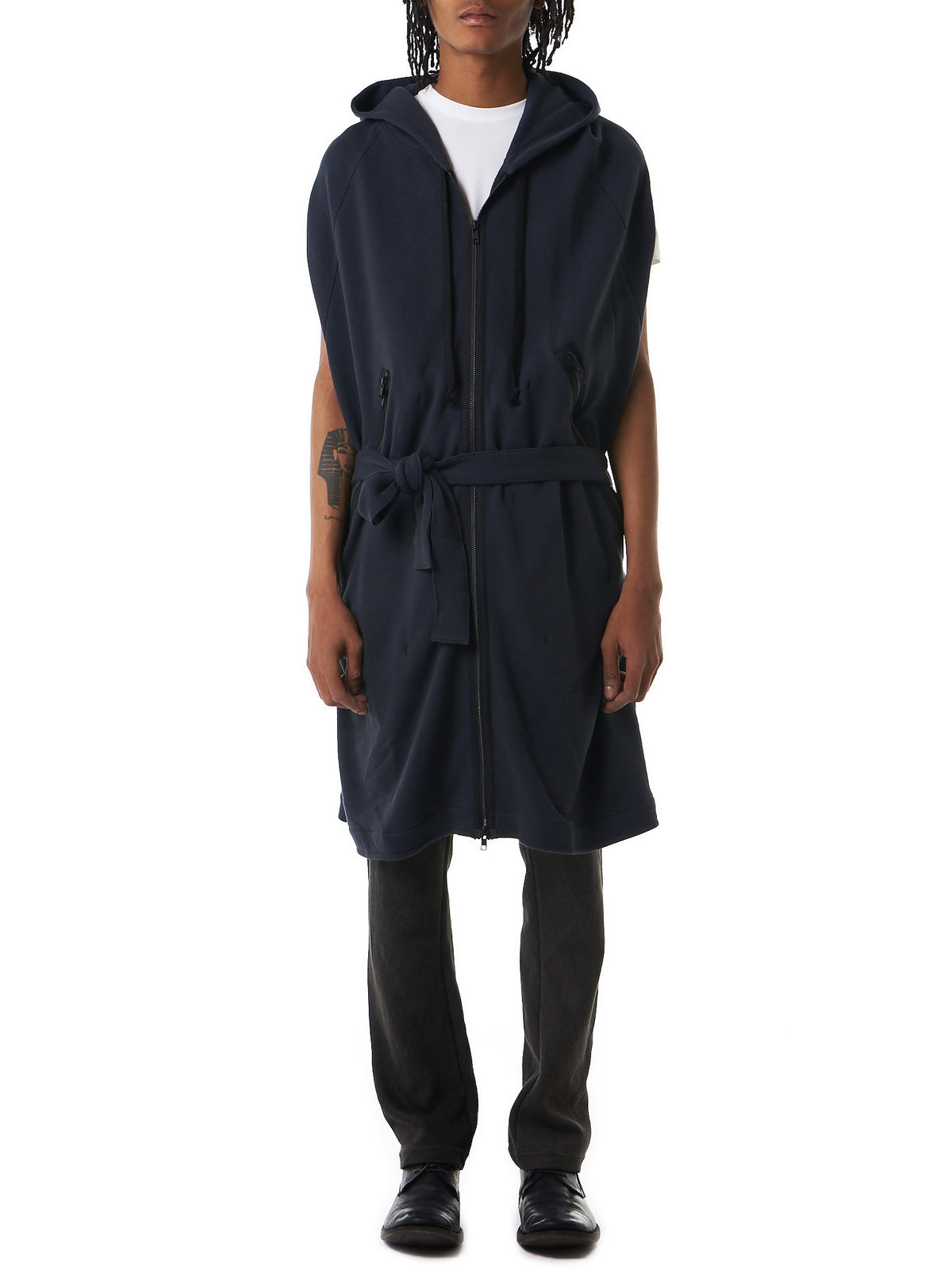 Elongated Hooded Waistcoat (1701-3922-225-097) - H. Lorenzo