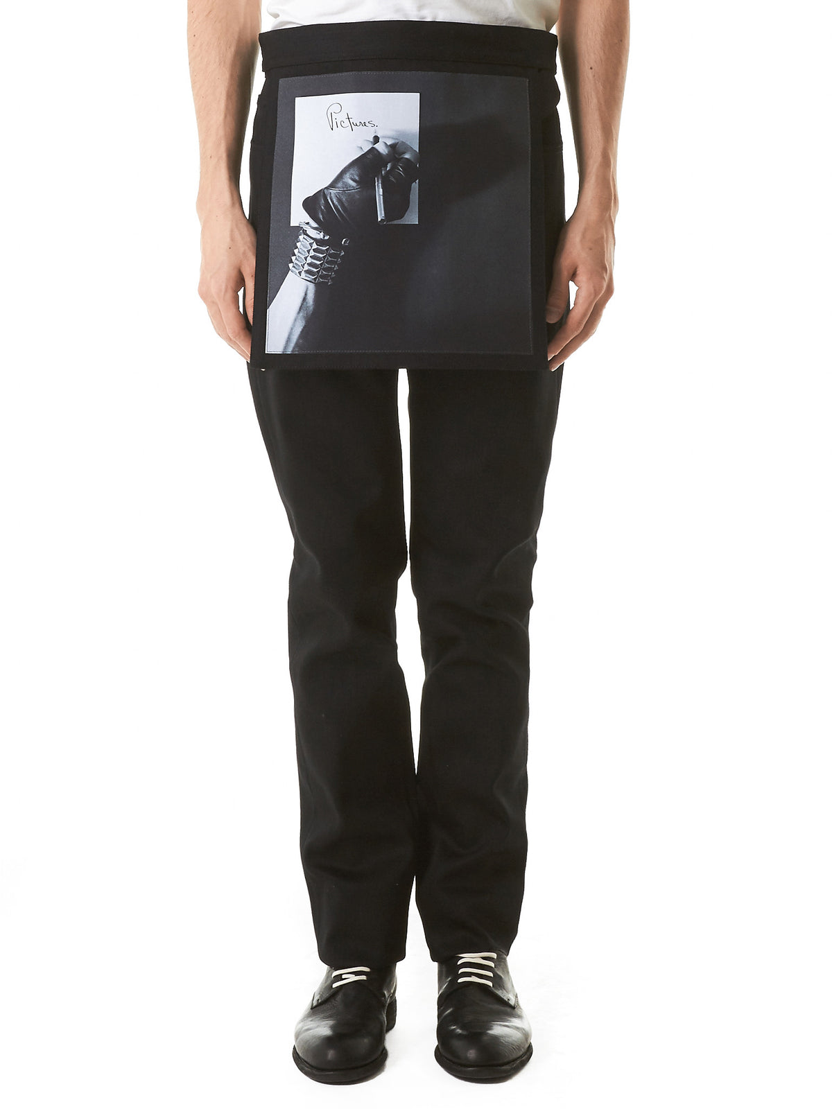 Layered Graphic Patchwork Pants (171-343-10022-00099-BLK) - H. Lorenzo