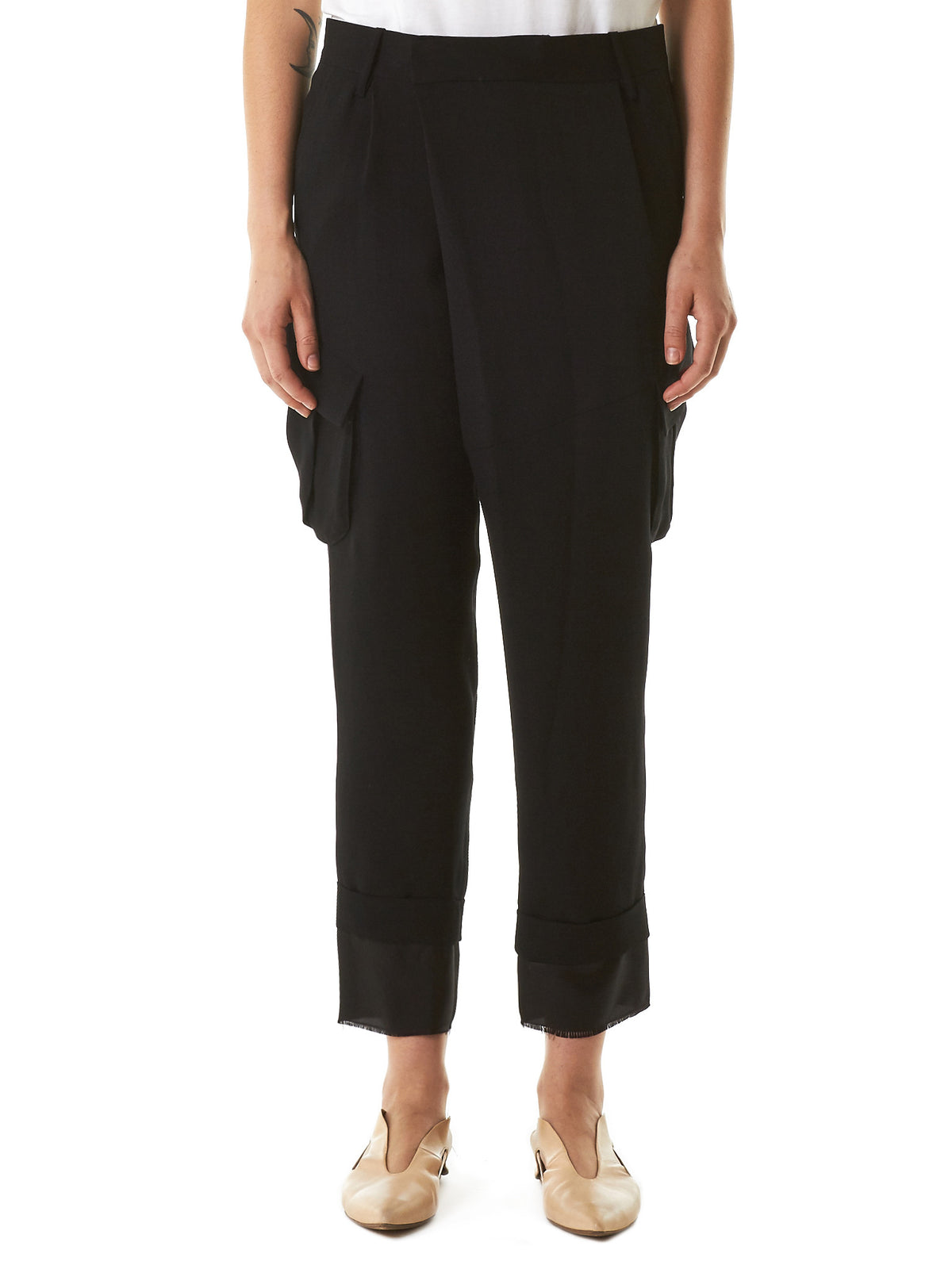 Cropped Silk-Lined Trousers (171-POP-001-BLACK) - H. Lorenzo