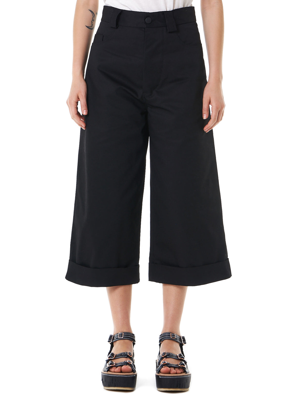 Bell-Bottom Cropped Jeans (17SS-13 COTTON BLEND BLACK) - H. Lorenzo