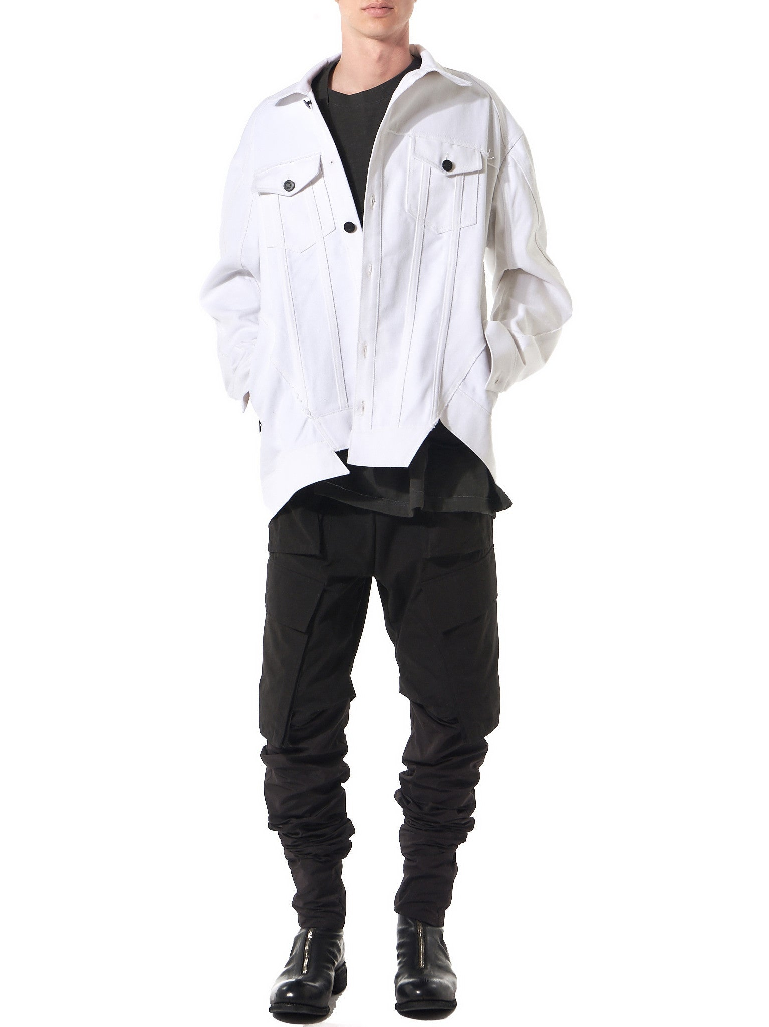 Asymmetric Denim Jacket (17SSBMJK-02 WHITE) - H. Lorenzo