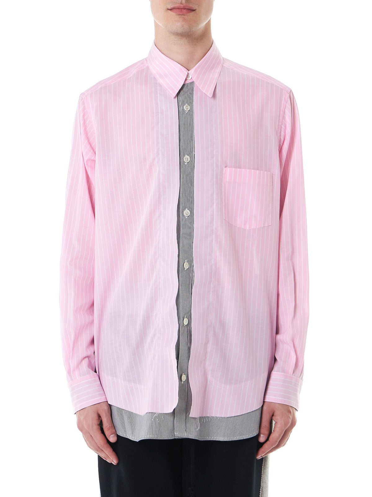 Double-Layered Button-Down (17TMB12005-PINK-CHARCOAL) - H. Lorenzo
