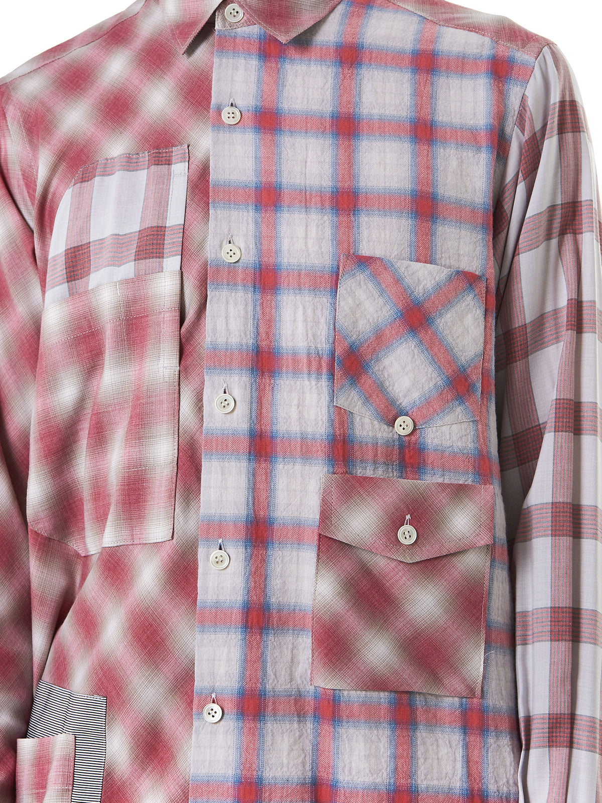 Oversized Button-Down Flannel (17TMB12008-PINKMIX) - H. Lorenzo