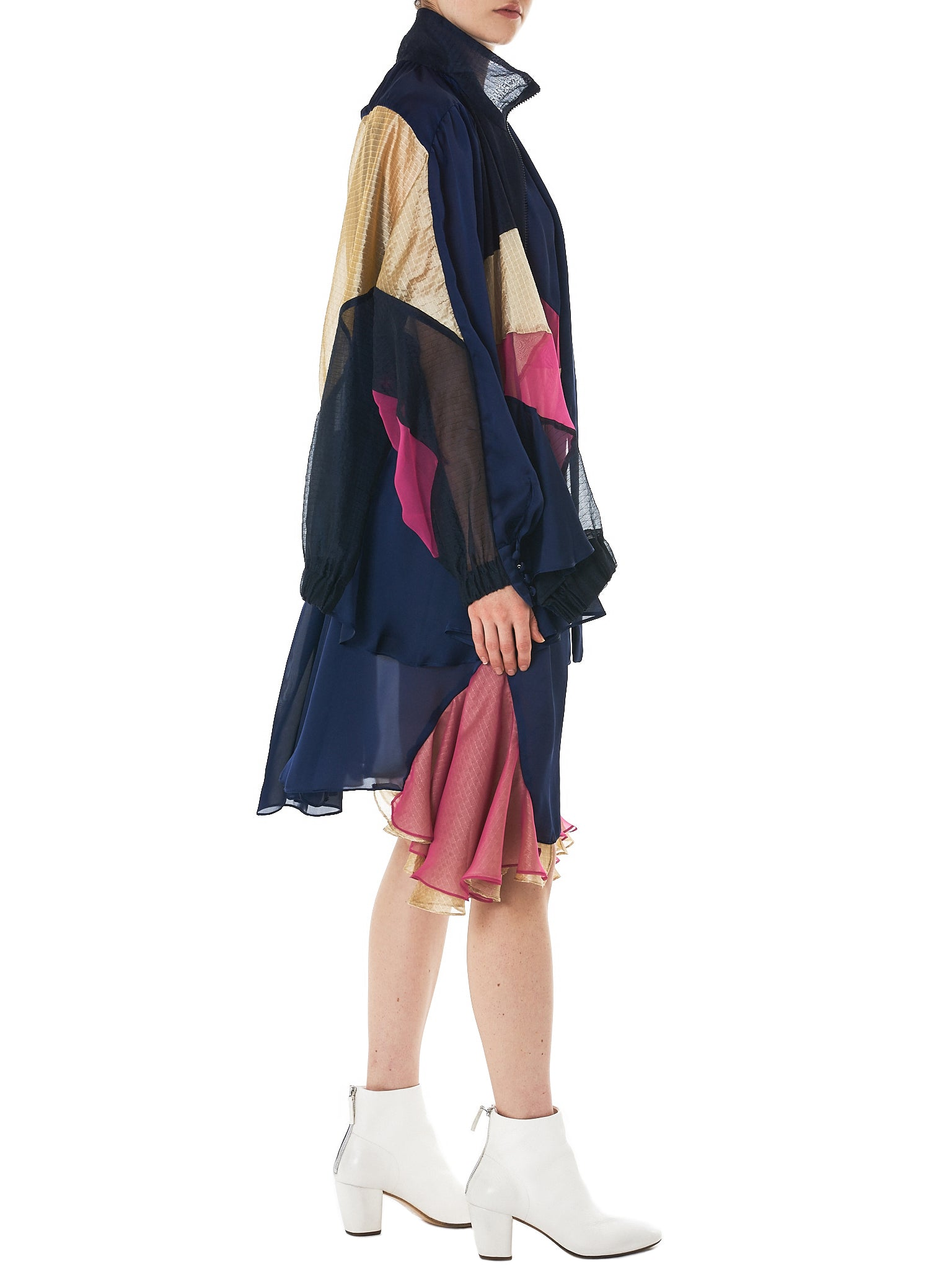 Jacketed Two-Piece Dress (18-03800-NAVY-BEIGE-PINK)