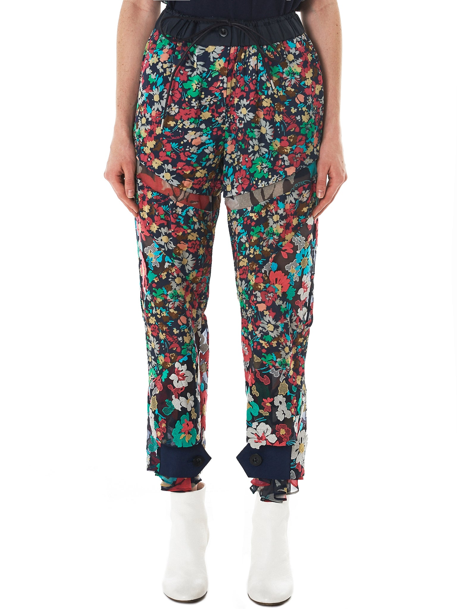 Sacai Floral Trousers - Hlorenzo Front