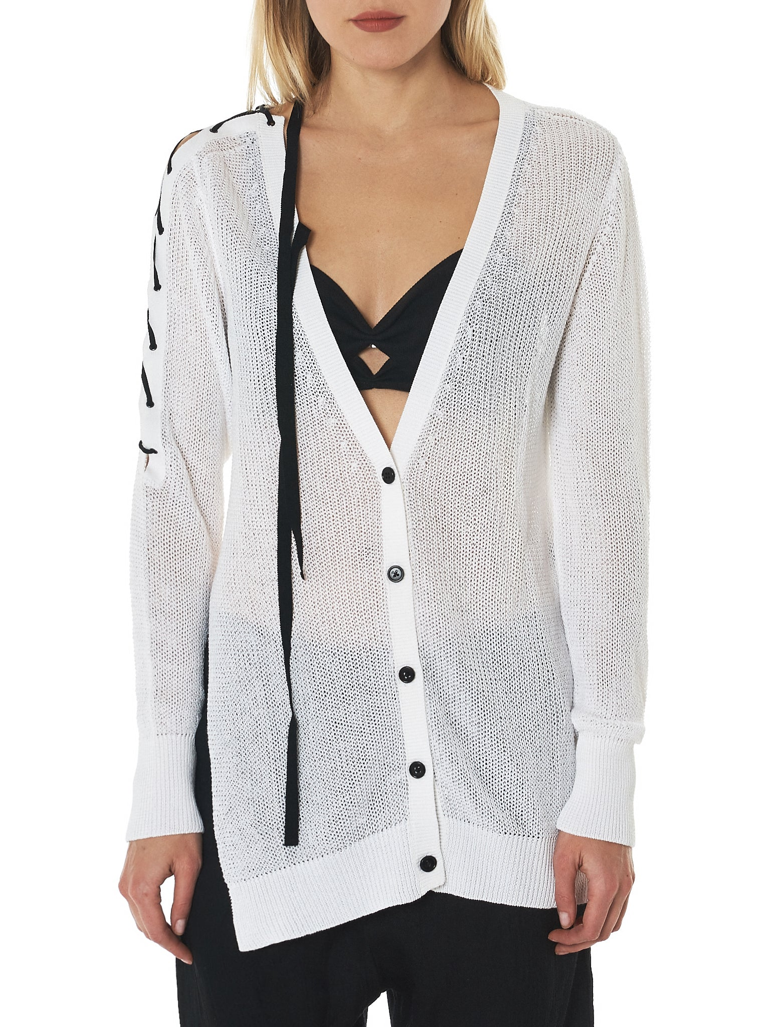 Ann Demeulemeester Lace-Up Cardigan - Hlorenzo Front
