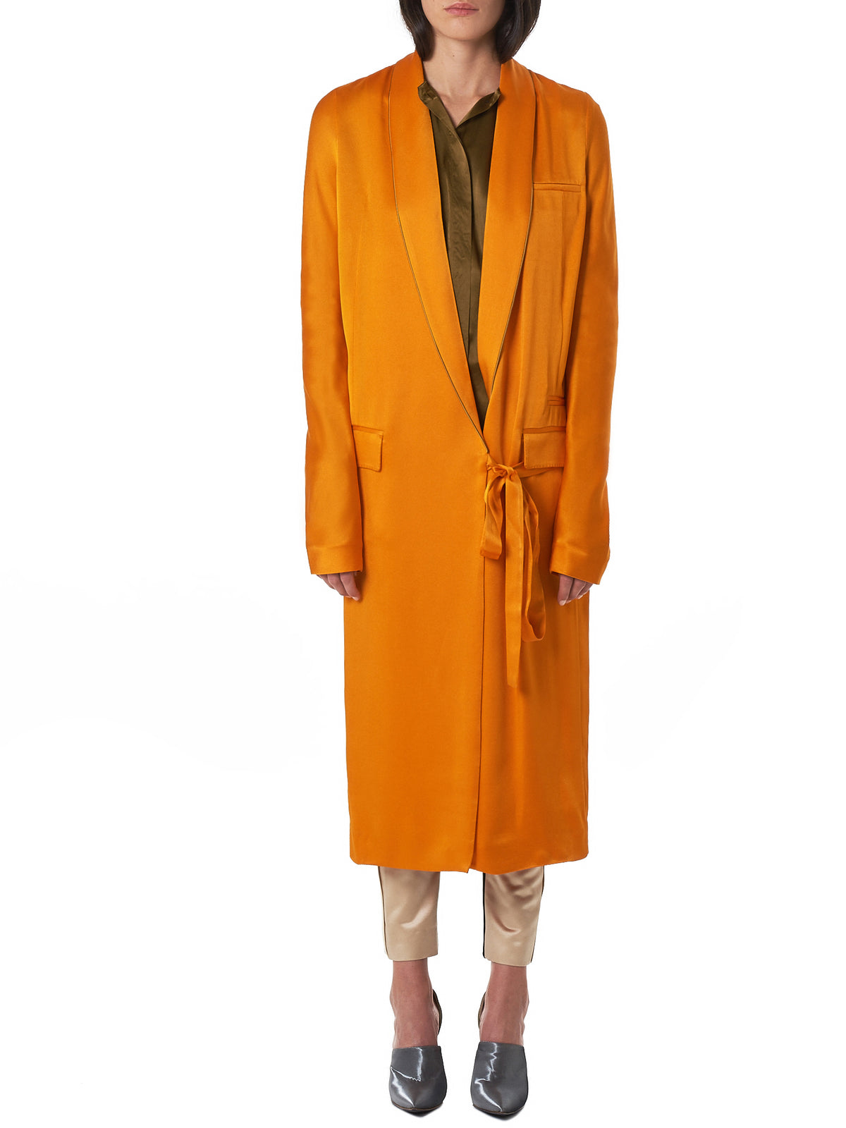 Haider Ackermann Orange Coat - Hlorenzo Front