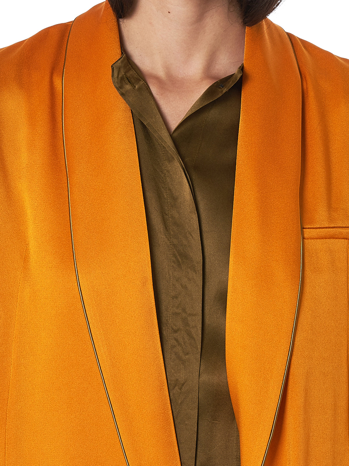Haider Ackermann Orange Coat - Hlorenzo Detail 2