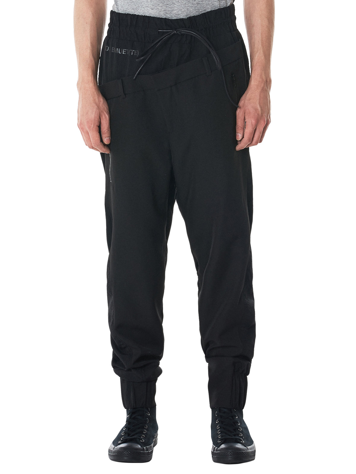 Double Waist Elasticized Trousers (18AB1SBMTR-02-BLACK)