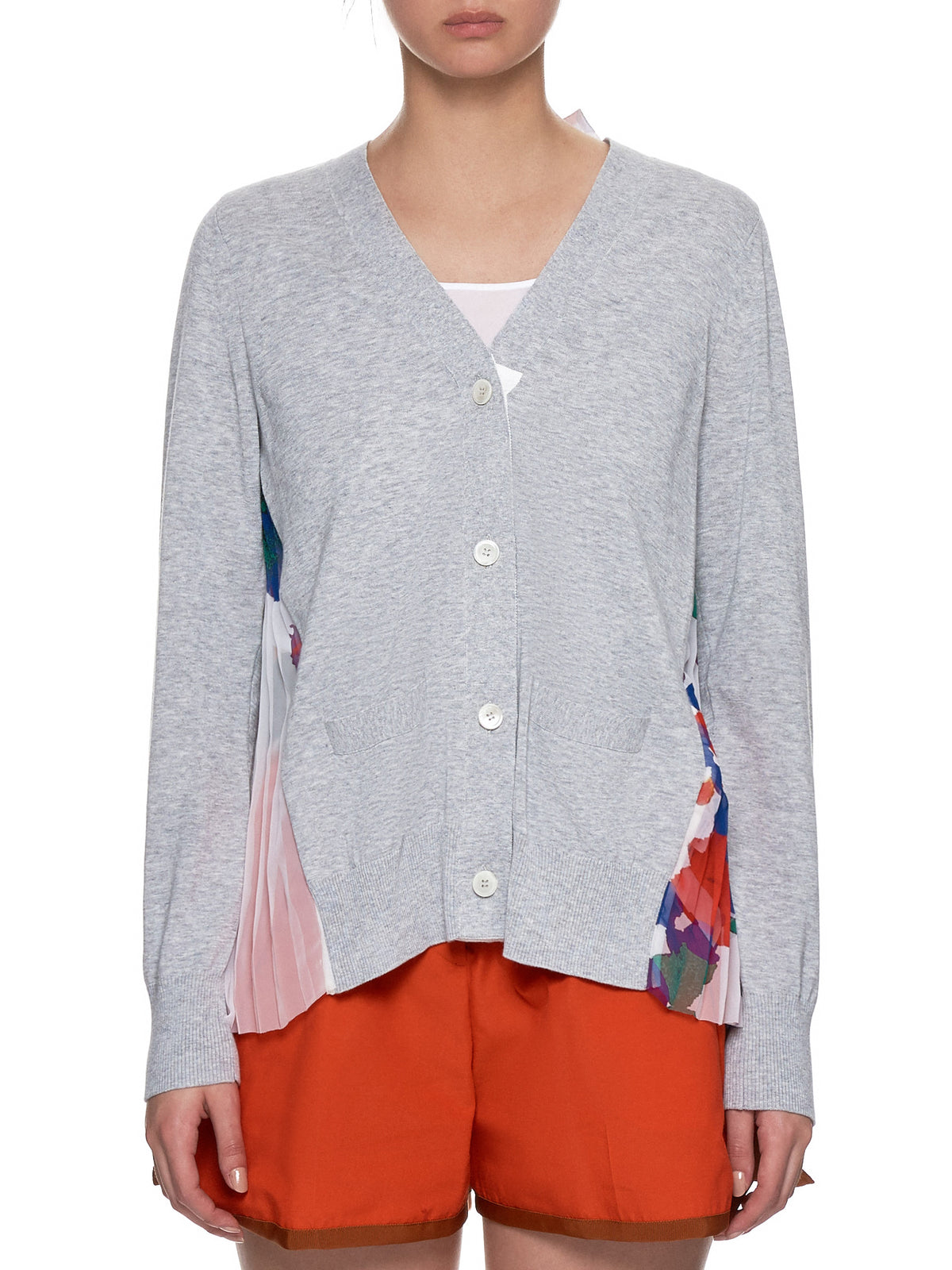 Split Cardigan (19-04389-GREY-FLOWER-PRINT)