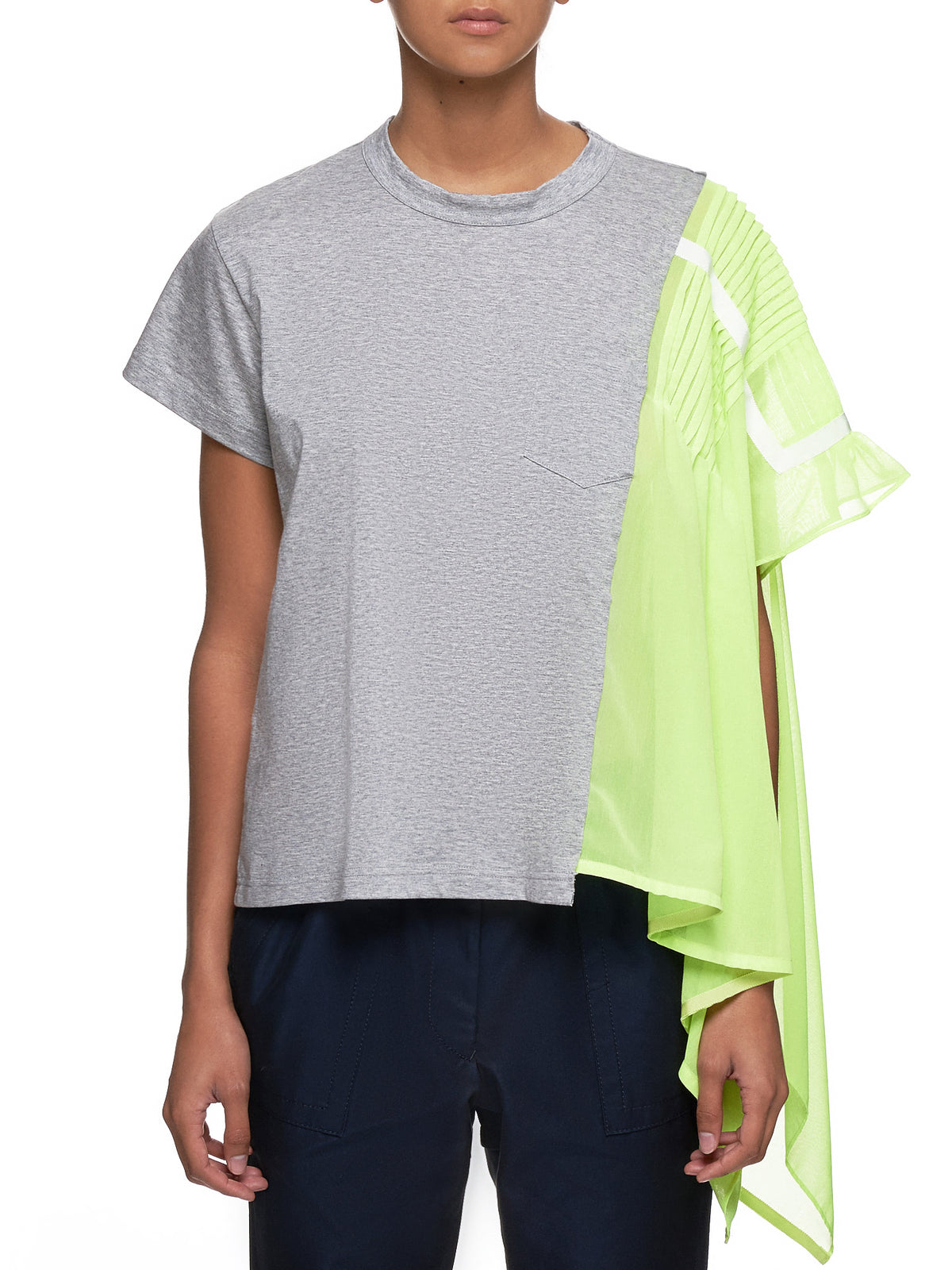 Split Translucent T-Shirt (19-04410-LIGHT-GRAY-YELLOW)