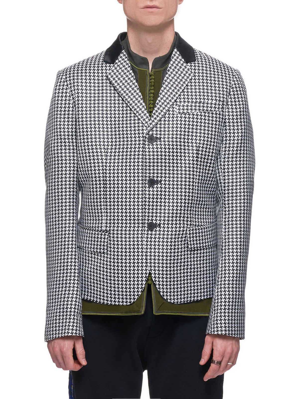 Houndstooth Blazer (193-3002-214-093-BLACK-WHITE)